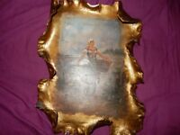 Vintage style oil painting in gold ornate colored frame