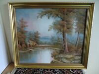 IN KINGS LYNN- LARGE FRAMED FOREST LAKE SCENE OIL PAINTING