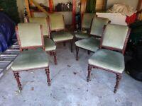 Set of six mahogany dining room chairs