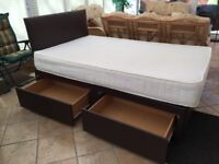 4FT SMALL DOUBLE DIVAN BED WITH 2 DRAWERS + COOLTOUCH MATTRESS + HEADBOARD IN BROWN FAUX LEATHER