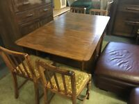 FOLDING VINTAGE TABLE WITH SMALL DRAWERS AND FOUR CHAIRS