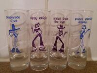 Brand new set of 4 shot glasses, 10.5 cm tall