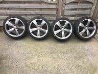 4 x GENUINE AUDI A3 ROTOR ALLOY WHEELS AND TYRES EXCELLENT CONDITION