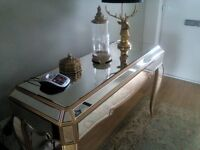 Venetian glass console table with gold edging