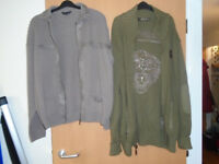 ED HARDY SPECIAL EDITION GREEN, LONG, HEAVY CARDIGAN with EMBROIDERED LOGO ON BACK PANEL, BRAND NEW