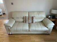 3 seater, 2 seater and foot stool cream leather sofa suite