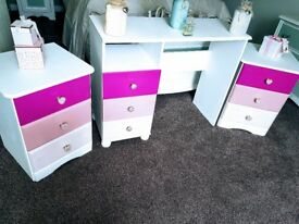 Pink and white glitter dressing table and 2 bedside 3 drawer cabinets