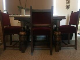 old charm jaycee solid oak draw leaf table and 4 chairs! Delivery
