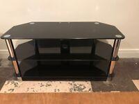 Glass shelf TV unit smokey glass