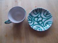 3 Vintage Austrian Gmundner Keramik cups and saucers green stripe