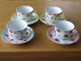 SET of 4 teacups and saucers by ROSANNA. Chelsea Flowers. Excellent Condition. Boxed. New Unused.