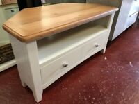 NEXT DAY DELIVERY New oak and ivory Corner TV unit £199