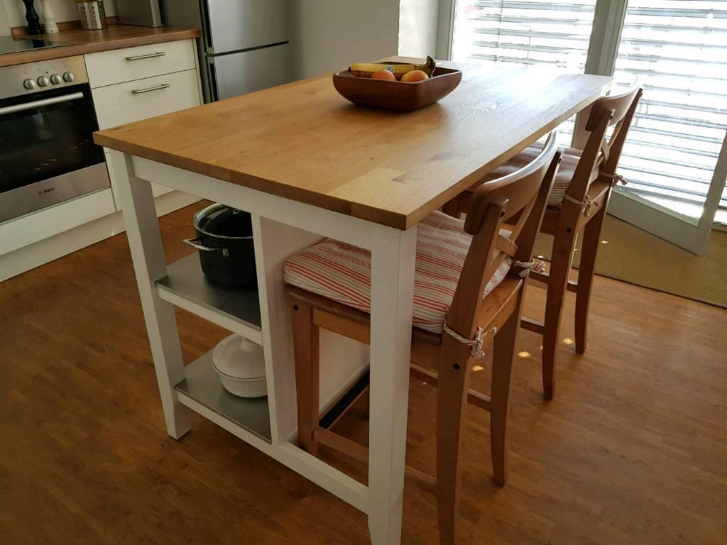 Sold Ikea Stenstorp Kitchen Island Breakfast Bar Solid Oak Top 2 Bar Stools In