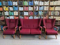 G Plan Brandon suite sofa armchairs 1953 mid century modern oak vintage wingback