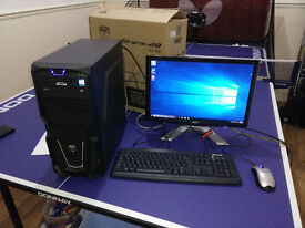 AMD A8-5600K Gaming PC with monitor, keyboard, mouse, 128GB SSD + 1TB HDD, Windows 10