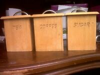 WOODEN Tea,Coffee,Sugar Canisters / Storage