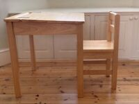 Children's Natural Wooden Study Desk and Chair