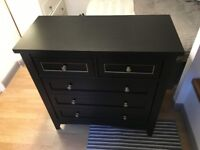 Nearly new, perfect condition, black and gold chest of drawers for sale