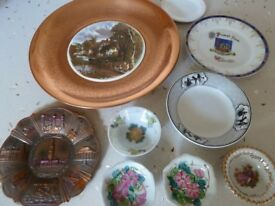 Selection of various china & metal decorative dishes & plates, some retro & vintage