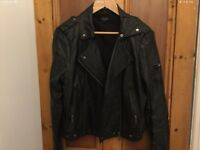 TOPSHOP FAUX LEATHER BIKER JACKET SIZE 14