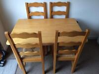 Beechwood effect Table and four chairs