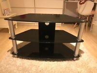 Black glass 3 tier TV stand