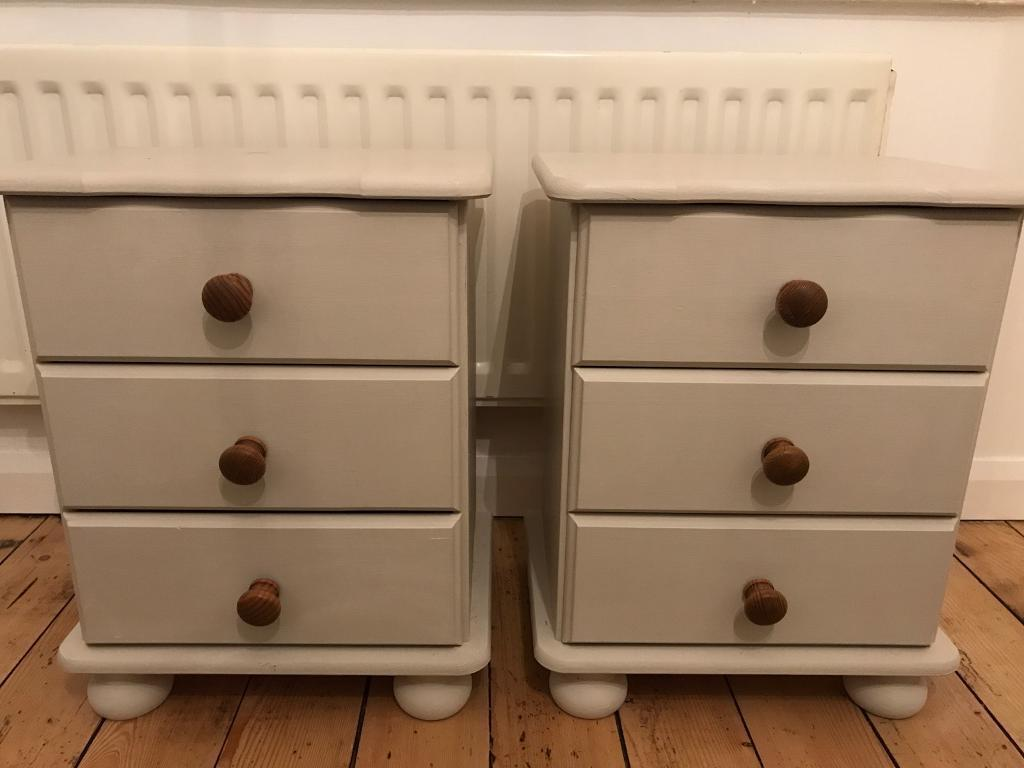 Matching painted pine bedside tables