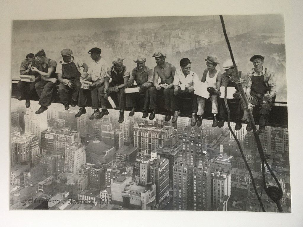 "Plastic covered print "" Lunch Atop A Skyscraper"" 1932"