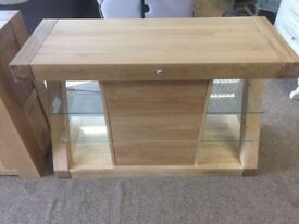 Brand New - Solid Oak Display Unit with Glass Shelves ## FREE DELIVERY ##