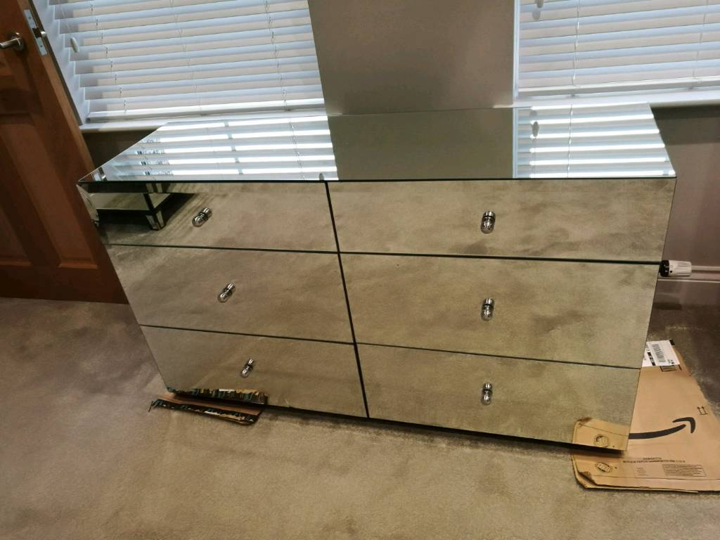 next mirrored furniture. NEXT DECO WIDE MIRRORED CHEST 6 DRAWERS BEDROOM FURNITURE RRP £550 DAMAGED GLASS ! Next Mirrored Furniture