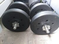 DUMBBELL VINYL WEIGHTS EACH SIDE 10KG 4 5KG WEIGHTS