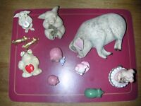 Large collection of pig ornaments, about 29 items.