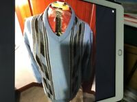 Farah mans neck jumper in mid blue with navy stripes new with tags medium