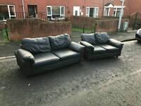3+ 2 seater sofa in black leather £199 delivered bargain!