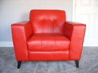 Beautiful Retro Red Leather Armchair and Black 5ft Leatherette Headboard
