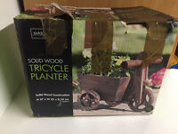 Solid Wood Tricycle Planter