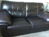 Leather 2 seater sofa and chair dark brown