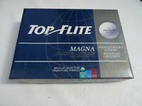 Box of 12 TOP FLIGHT MAGNA GOLF BALLS in four packs of three balls. Brand new.