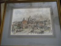 3 Water colour pictures of Crowland Abby - local artist Derek Able