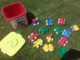 Vikingtoys Bucket of Sand Vehicles (cars, train, boat, helic