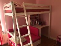 Loft (high) bed (single) with desk,shelves,sofa (can be pulled out to make another single bed)