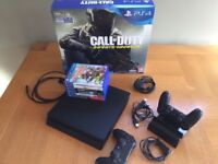 PS4 Slim 500GB Mint Condition, 6 Games, 2 Sony Controllers, Charging Dock, Original Box
