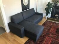 LARGE DARK GREY CORNER SOFA WITH CHAISE & SOFABED- 4 WEEKS OLD - LIKE NEW - DELIVERY / PICKUP-£410
