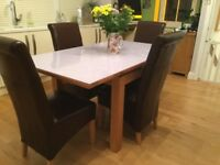 Solid oak dining or kitchen table with exact measurement lilac glass detachable top