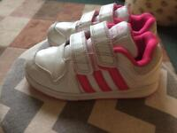 Girls Adidas pink trainers good condition