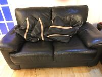 Black Leather sofas and sofa bed