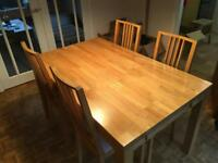 Solid wood oak table and chairs