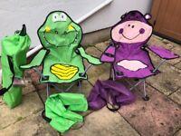 Three children's garden / camping / festival chairs