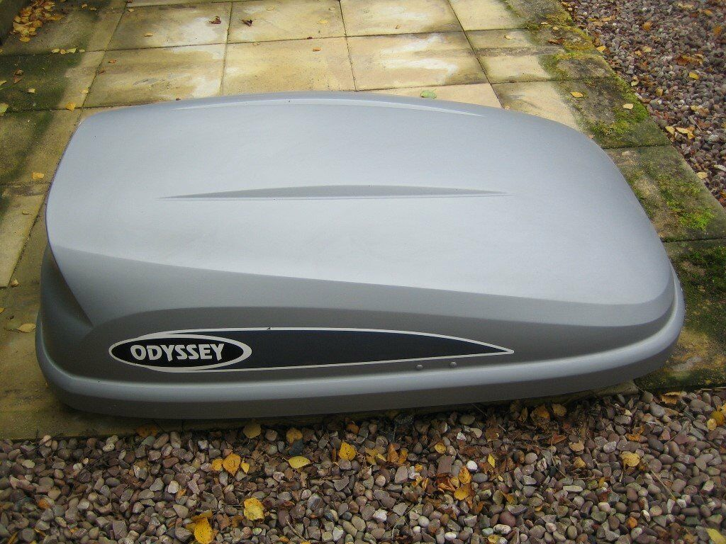 Karrite Odyssey 325 Roof Box, Grey, rear opening, hardly used