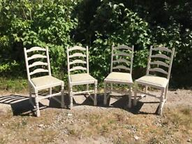 set of 4 painted ladder back chairs